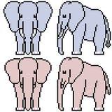 Éléphant réglé d'art de pixel de vecteur Photographie stock
