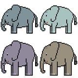 Éléphant réglé d'art de pixel de vecteur Photographie stock libre de droits