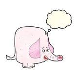 éléphant rose de bande dessinée avec la bulle de pensée Photographie stock