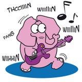 Éléphant rose jouant une guitare de roche Photos libres de droits