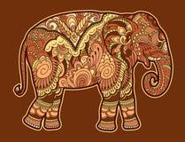 Éléphant stylisé de dessin Croquis à main levée pour anti livre de coloriage adulte d'effort illustration de vecteur