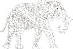 Éléphant tiré par la main noir et blanc stylisé, anti effort Images libres de droits