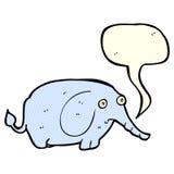 éléphant triste de bande dessinée petit avec la bulle de la parole Photos libres de droits
