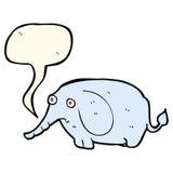 éléphant triste de bande dessinée petit avec la bulle de la parole Photographie stock
