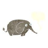 éléphant triste de bande dessinée petit avec la bulle de la parole Image libre de droits