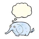 éléphant triste de bande dessinée petit avec la bulle de pensée Photographie stock