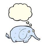 éléphant triste de bande dessinée petit avec la bulle de pensée Images libres de droits