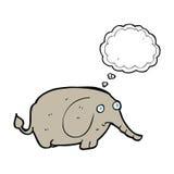 éléphant triste de bande dessinée petit avec la bulle de pensée Photos stock