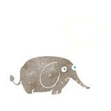 éléphant triste de bande dessinée petit avec la bulle de pensée Photo libre de droits