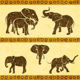 Éléphants africains réglés illustration stock