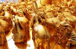 Éléphants d'or Photographie stock