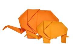 Éléphants d'Origami Images libres de droits