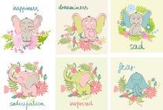 Éléphants de bande dessinée de vecteur Images stock