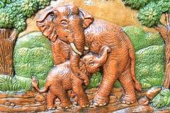 Éléphants en céramique Photo libre de droits