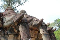 Éléphants en pierre chez Angkor Vat Photographie stock