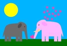 Éléphants enamourés Photographie stock