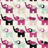 Éléphants et fleurs sans couture gais de modèle Noir pourpre illustration de vecteur