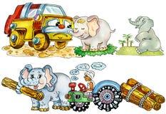 Éléphants mignons drôles de chéri illustration stock