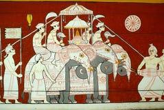 Éléphants sur le mur Image stock