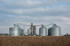 Élévateur à grains dans la zone agricole Grenier avec le matériel mécanique pour recevoir, nettoyage, séchant, expédition de grai photo stock