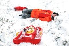 Él disfruta del invierno Imagen de archivo