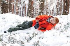 Él disfruta del invierno Fotos de archivo
