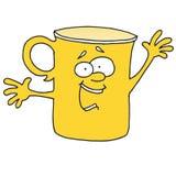 Él ` s que dice a algo la taza amarilla Fotos de archivo