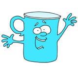 Él ` s que dice a algo la taza azul Foto de archivo libre de regalías