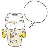 Él ` s que dice a algo la taza de café - burbuja del discurso Foto de archivo