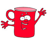 Él ` s que dice a algo la taza roja Imagenes de archivo