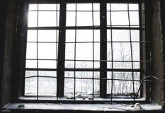 Él ` s que nieva hacia fuera la ventana Imagen de archivo libre de regalías
