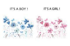 Él ` s un muchacho Él muchacha del `S Tarjeta de felicitación de la fiesta de bienvenida al bebé Tarjeta de felicitación floral R ilustración del vector