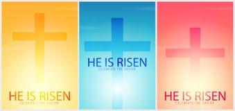 Él se levanta Celebre al salvador Sistema de carteles de la iglesia de Pascua con la cruz, motivo cristiano Ilustración del vecto stock de ilustración