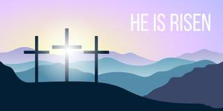 Él se levanta Cita de la biblia, cruz santa, siluetas de las montañas, bosque en la salida del sol Ilustración del vector Imagenes de archivo
