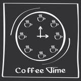 Él tiempo del café de s Cartel del dibujo de la mano con los elementos de la decoración de la frase Tarjeta de la tipografía, ima Foto de archivo