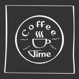 Él tiempo del café de s Cartel del dibujo de la mano con los elementos de la decoración de la frase Tarjeta de la tipografía, ima Fotografía de archivo libre de regalías