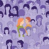 Él y ella en el fondo de la muchedumbre libre illustration