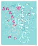 Él y ella una fecha el día de tarjeta del día de San Valentín stock de ilustración