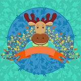 Élans à cornes mignons avec la bannière et la décoration florale d'automne Photos stock