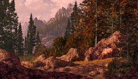 Élans dans les montagnes rocheuses illustration stock