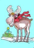 Élans et Noël Photos libres de droits