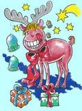 Élans sur Noël Images stock