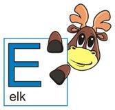 élans tenant un signe avec la lettre E Image stock