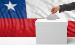 Électeur sur un fond de drapeau du Chili illustration 3D Photographie stock libre de droits
