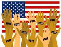 Électeurs d'élection des USA avec des mains augmentées illustration de vecteur