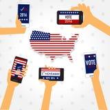 Élection américaine 2016 avec le vecteur futé de téléphone PE d'illustration Photographie stock libre de droits