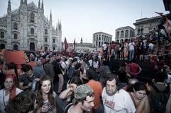 Élection le 30 mai 2011 de pisapia de Giuliano de célébration Images stock