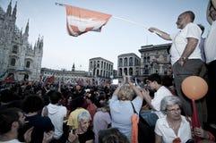 Élection le 30 mai 2011 de pisapia de Giuliano de célébration Photo stock