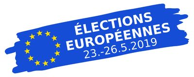 Élections Européennes 23.-26.5.2019, French for 2019 European Parliament Election, blue brush stroke, EU flag, oblique, banner royalty free stock images