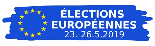 Élections Européennes 23.-26.5.2019, French for 2019 European Parliament Election, blue brush stroke, EU flag, straight banner stock photo